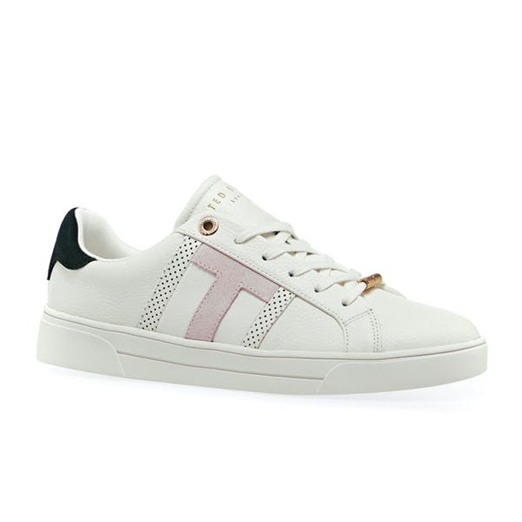 Ted Baker OTTOLO Perforated T Γυναικεία Δερμάτινα Sneakers Παπούτσια 251191 Λευκό